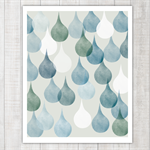 Green, Blue and Grey raindrops - wall decor